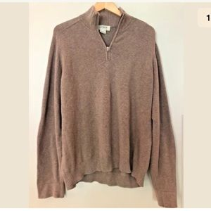 Men's J Crew XL Tan Pullover Sweater 100% Cotton
